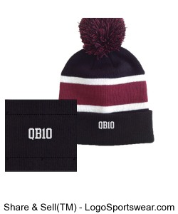 Striped Beanie with Pom Design Zoom